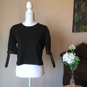 NWOT Zara Black Buckled Sleeve Crop Top - Small